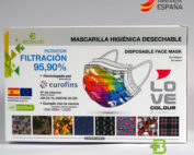 Mascarillas desechables estampadas Love Biosalud